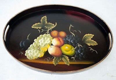Vintage Lightweight Wood Tray Lacquered w Hand Painted FRUITS 18.5