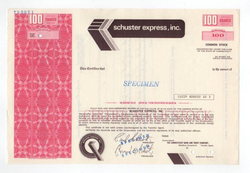 SPECIMEN - Schuster Express, Inc. Stock Certifcate