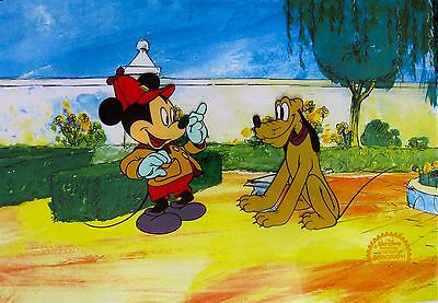 DISNEY MICKEY MOUSE PLUTO THE POINTER Limited Edition Sericel Animation Art Cel