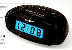 Sharp Mini Digital Alarm Clock Operated w On Demand Back-Light Ascending Alarm