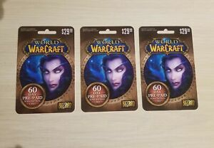 (x3) 60-Day World of Warcraft Subscription Time Cards
