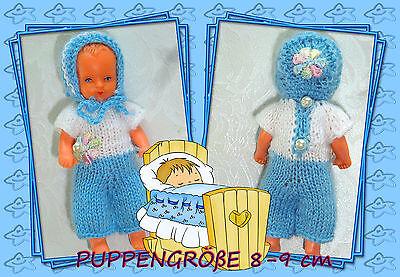 Nostalgie Set 2-tlg Overall  SK,SE ,ARI , Mini- Puppen 8 - 9 cm  Puppenstube