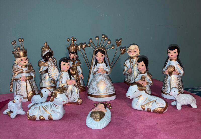 Vintage Tonala Mexican Pottery 14 Piece Nativity Set, Baby Blue/Gold Terra Cotta