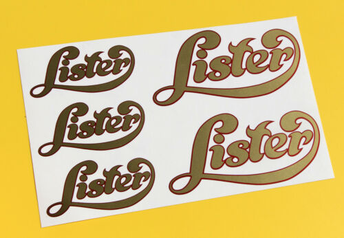 LISTER Script style Stationary Engine logo style gold sticker decal set