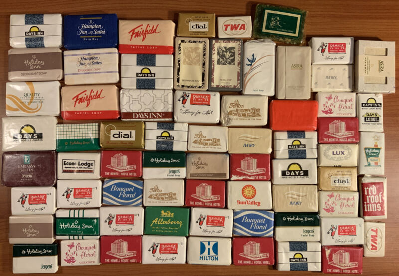 Lot of 68 Vintage Hotel Guest Mini Travel Soap Bars Toiletries Unopened