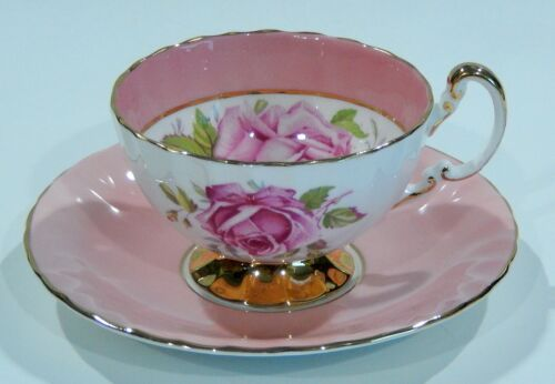 Vintage 1950s AYNSLEY Large PINK CABBAGE ROSE CUP & SAUCER Pink Colorway MINT