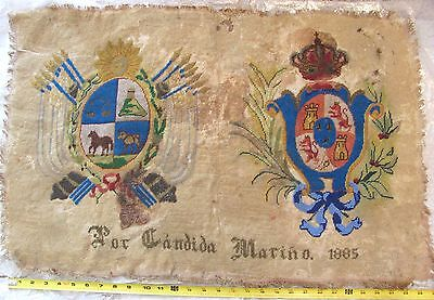Antique SPAIN Sampler 1885 Coat of Arms Needlepoint Beads By Candida Mariño