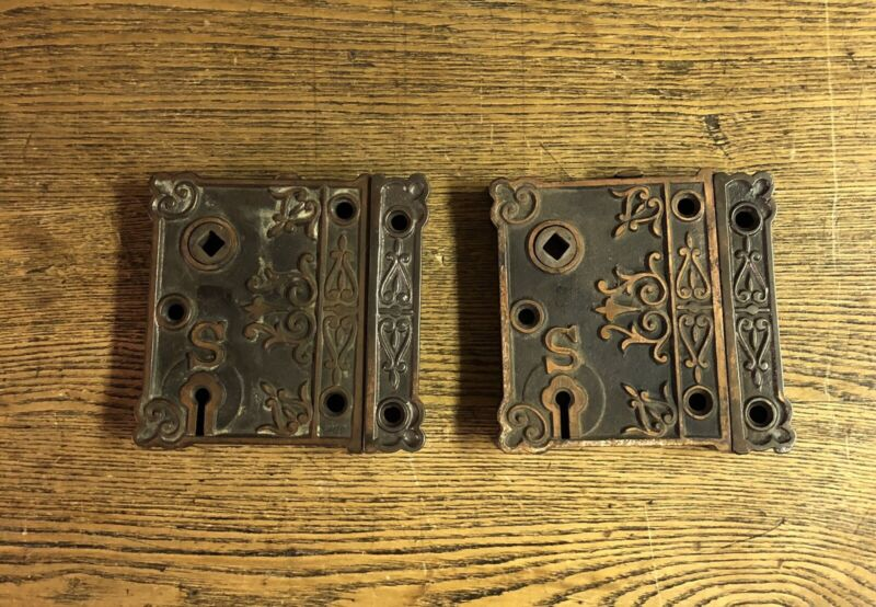Pair Of Antique Ornate Copper Plated Rim Locks, c1890