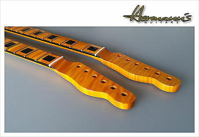 Telecaster One Piece flamed Maple Neck, BlocK Design Inlay´s, High Gloss Vintage
