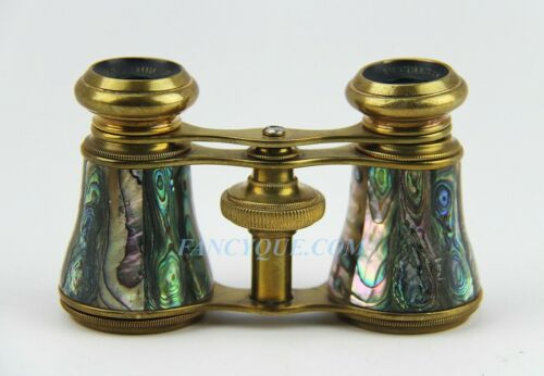 ANTIQUE FANCY ABALONE MOTHER OF PEARL FRENCH OPERA GLASSES # 35