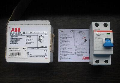 ABB F202 A-40/0,03 FI Fehlerstrom-Schutzschalter 40A 30mA 2-polig gebraucht kaufen  Wiesloch