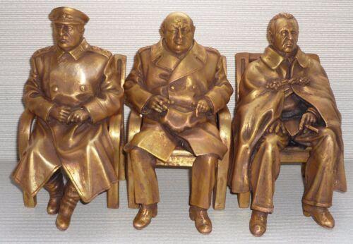 ORIGINAL Big Yalta Conference W.Churchill Franklin Roosevelt & J.Stalin bust