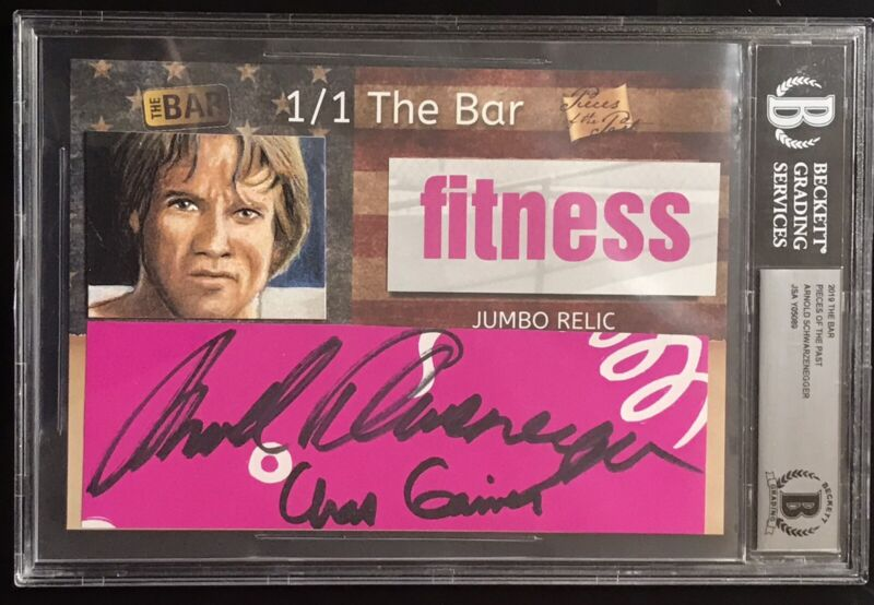 ARNOLD SCHWARZENEGGER The Bar Pieces of The Past 1/1 Auto Autograph Beckett JSA
