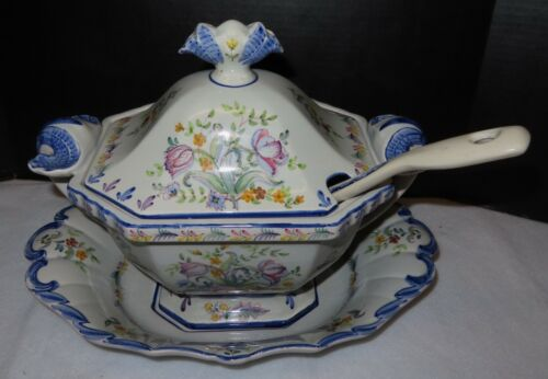 ANTIQUE POLISH PORCELAIN SOUP TUREEN with UNDER PLATE . LID, and LADEL