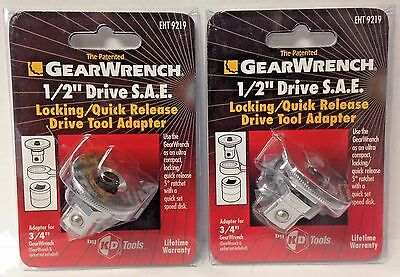 Gearwrench 9219 12 Drive X 34 Locking Quick Release Drive Tool Adapter 2pks