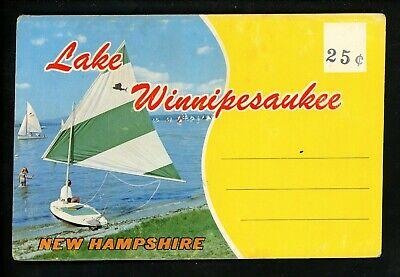 Postcard Folder New Hampshire NH Lake Winnipesaukee Map Boats Chrome