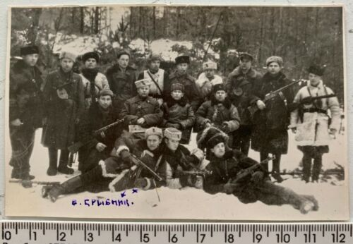 WWII SOVIET PARTISANS in Wood Arms Rifle Group Red Army Original Vintage Photo