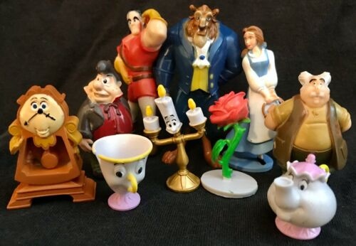 BEAUTY AND THE BEAST Figure Play Set DISNEY PVC TOY Belle LUMIERE Cake Toppers!