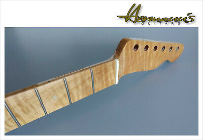 Telecaster one piece Roasted Curly Maple Neck mit Abalon Dots, Best Quality...