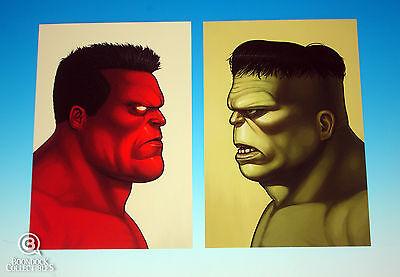 Hulk & Red Hulk Mondo Mike Mitchell Portrait Print Set Marvel Rare Giclee Proof