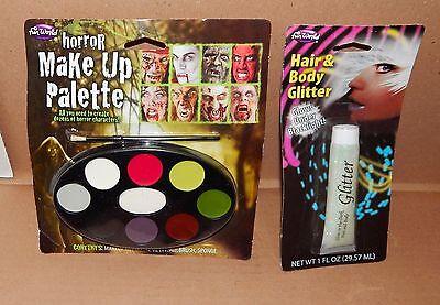 Halloween Horror Makeup Palette Fun World & Hair & Body Glitter 1oz Glows 68R