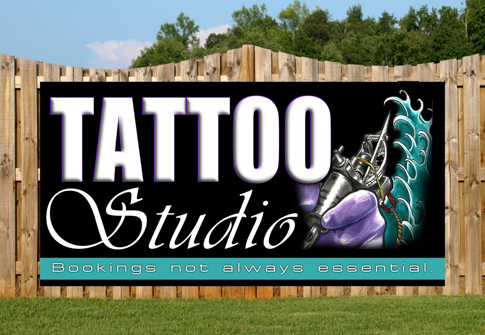 Tattoo shop studio ink gun pvc banners printed outdoor for Standard ink tattoo company