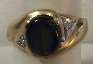 Scrap 14k Yellow Gold Star Sapphire Diamond Mens Ring 8.2 Grams Marked