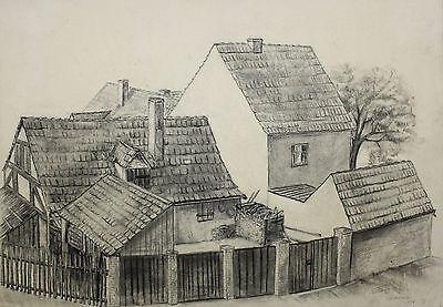 Bleistiftzeichnung von Schicketanz Ansicht Luckenwalde Kunst Bild Malerei 1954