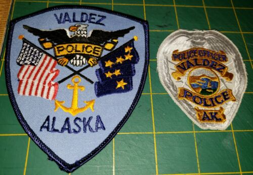 VALDEZ POLICE PATCH ALASKA ESKIMO NATIVE SET OF TWO AK FIRST ISSUE OLD AND REAL