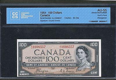 1954 $100 BANK OF CANADA DEVIL'S FACE CCCS AU 55 ALMOST UNC C T BC 35A. BV $775