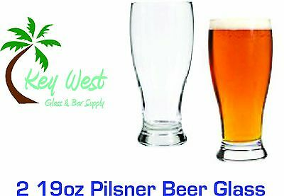 Key West Brand Pilsner Beer Glass, Set of 2  (19 Oz), New, Free -