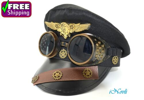 Police Hat Steampunk Pilot Aviator Handmade Costume Cosplay Party W/ Goggles