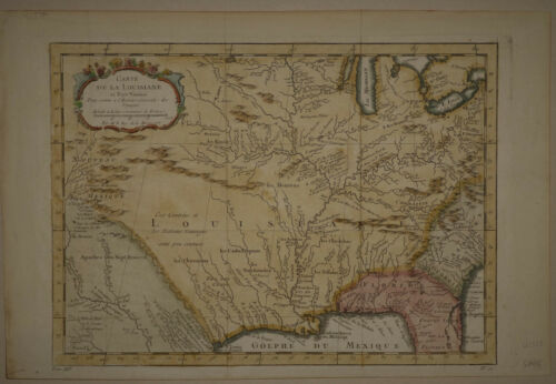1757 Genuine Antique Hand Colored Map Lousiana, mid & SE U.S. by J.N. Bellin