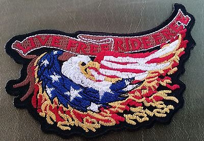 Motorcycle Biker LIVE FREE RIDE FREE Embroidered JACKET PATCH UNUSED INDIAN HOG