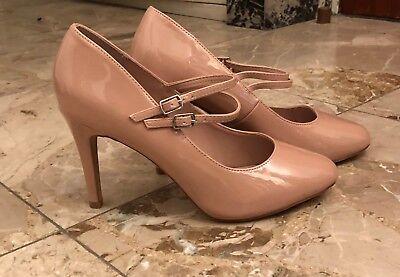 Escarpins beige vernis-Bout rond-Brides à boucles-Chaussures à talon-Pointure 39