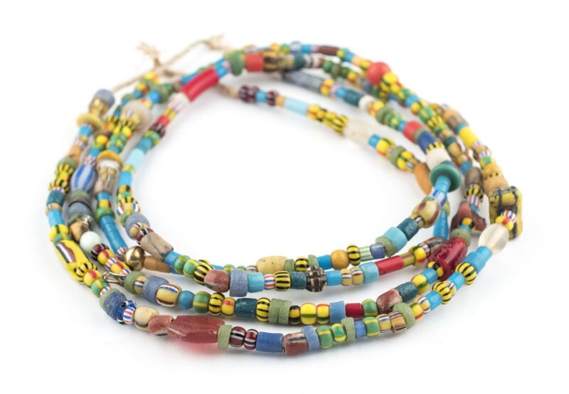 Mixed Vintage Christmas Beads Blue Medley 7mm Ghana African Multicolor Glass