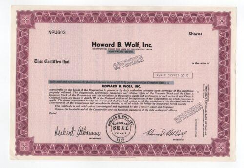 SPECIMEN - Howard B. Wolf, Inc. Stock Certificate