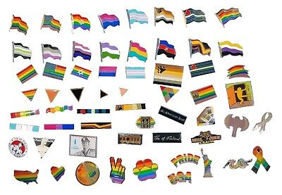 Gay Pride Enamel Lapel Pins Badges Rainbow Leather Bear Flag LGBT Ally Wholesale