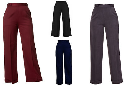 New VTG Wartime 1920s 1930s 1940s Style Wide Leg High Waist Swing Trousers - 1920s Womens Pants