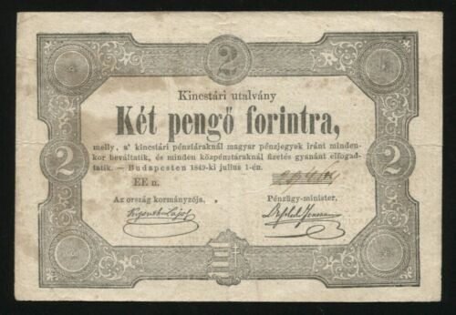 x514 HUNGARY 2 pengő forint 1849 paper banknote REVOLUTION NOTE KOSSUTH sign