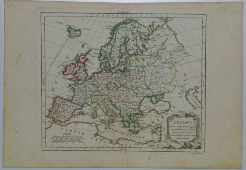 c.1780 Genuine Antique map entirety of Europe. Delicate detail. De Vaugondy