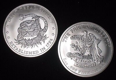 5 Oz Silver Round    999 Silver   Dont Tread On Me   Price Of Liberty    S 420