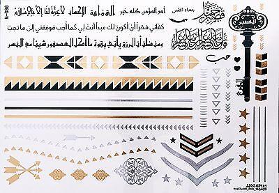 Temporary Flash Einmal Tattoo Henna Gold Silber 42-teilig Armband Kette Ring (Gold Tattoos)