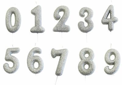 Silver Glitter Age Number Candle Birthday Party Cake Topper Decoration Gift Idea (Anniversary Party Ideas)