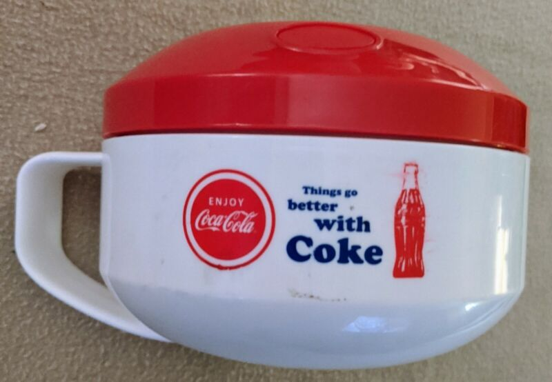 Coca~Cola Soup Can-tainer Hot Insulated Aladin Thermos Cup. RARE LNC
