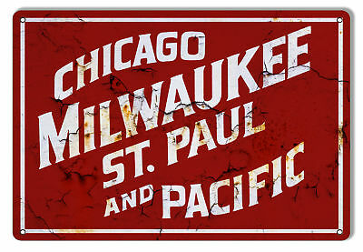 Distressed Looking Chicago Milwaukee Railroad Sign 12x18
