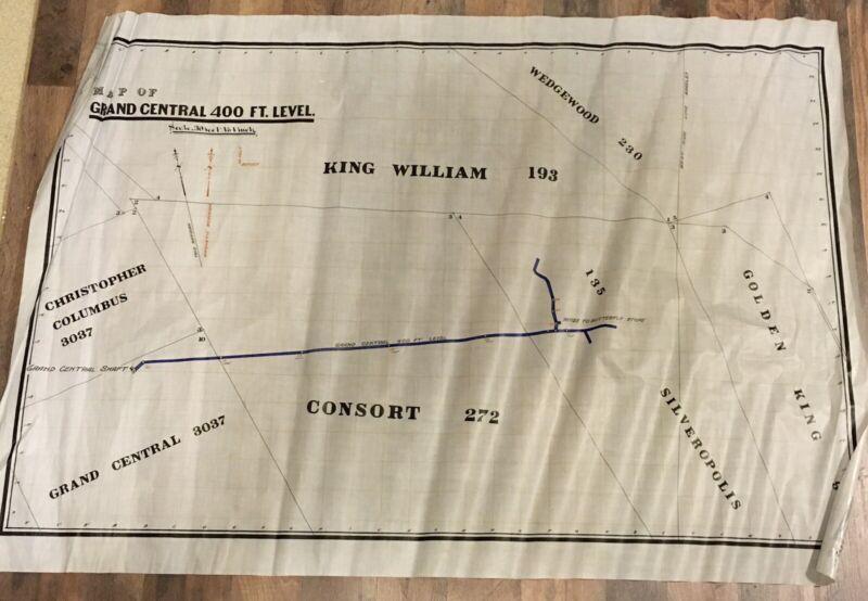 Antique 1900's Eureka Mammoth Utah Grand Central Mine Map Underground Rare!