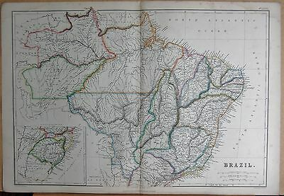 1860  LARGE ANTIQUE MAP - BRAZIL