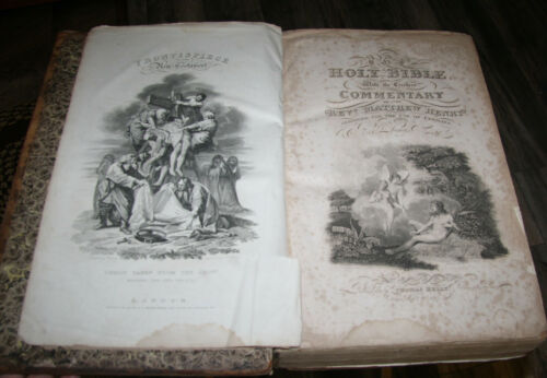 """1822 HUGE  antique Holy Bible **17 1/4"""" tall **  ILLUSTRATED  13lbs."""