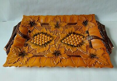Vintage Hand Carved Wooden Decorative Tray with Raised Grapevine Design 47cm